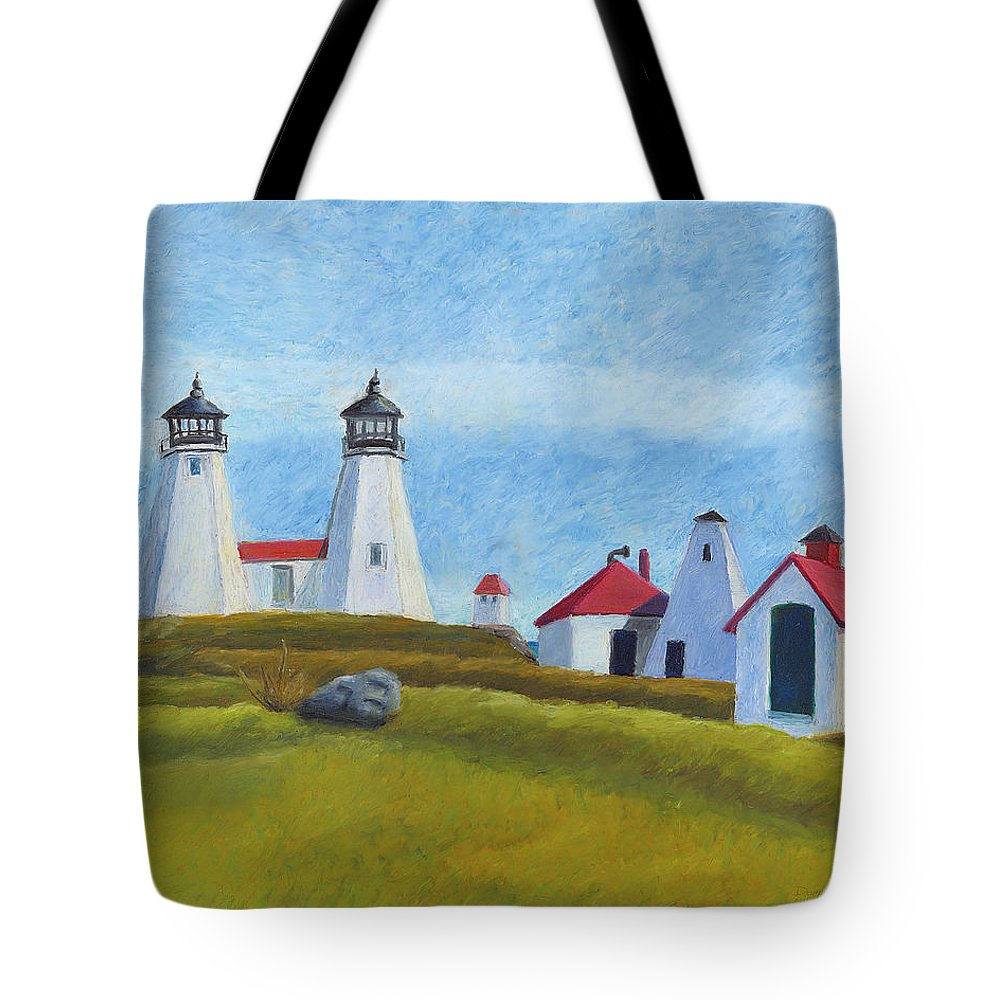 Lighthouse Tote Bag featuring the drawing Plymouth Light Station Before 1924 by Dominic White