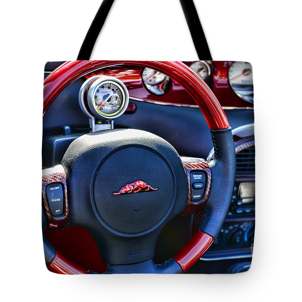 Paul Ward Tote Bag featuring the photograph Plymouth Prowler Steering Wheel by Paul Ward