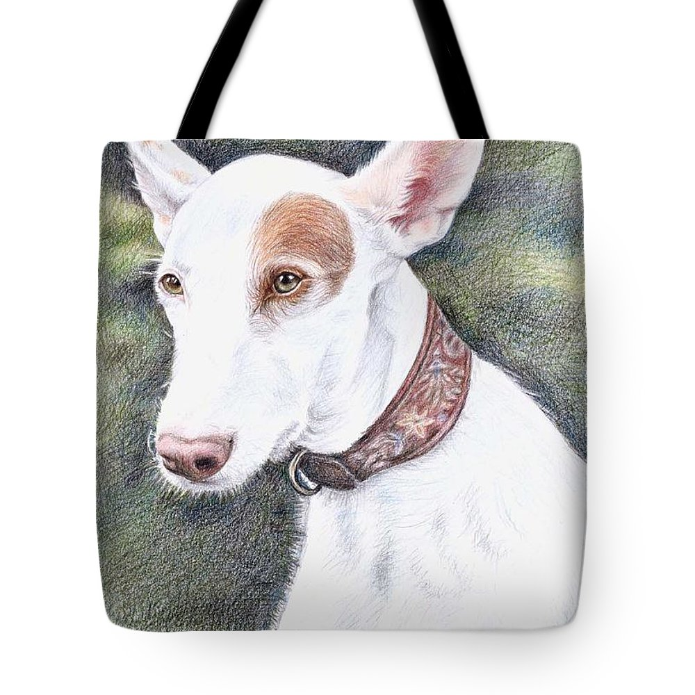 Dog Tote Bag featuring the drawing Podenco Ibicenco by Nicole Zeug