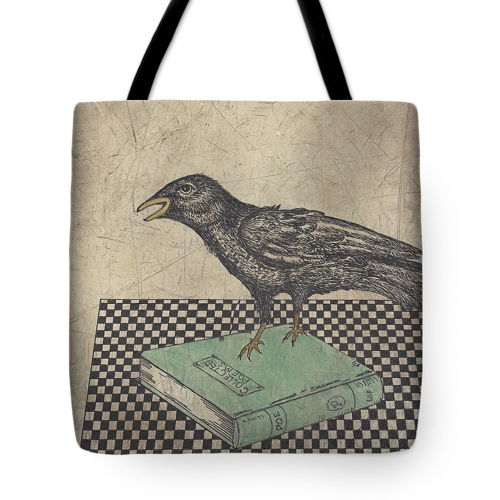 Crow Tote Bag featuring the drawing Poe And The Crow by Terry Fleckney