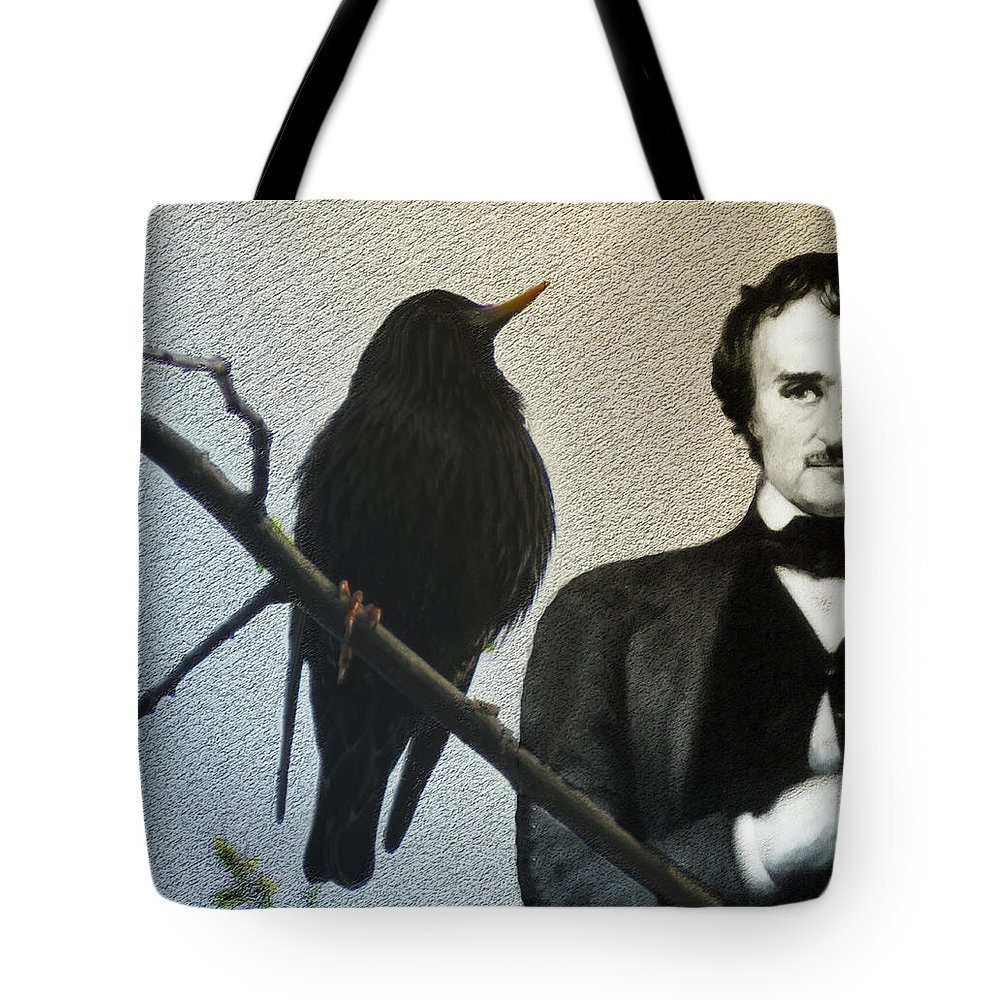Poe Tote Bag featuring the photograph Poe And The Raven by Bill Cannon