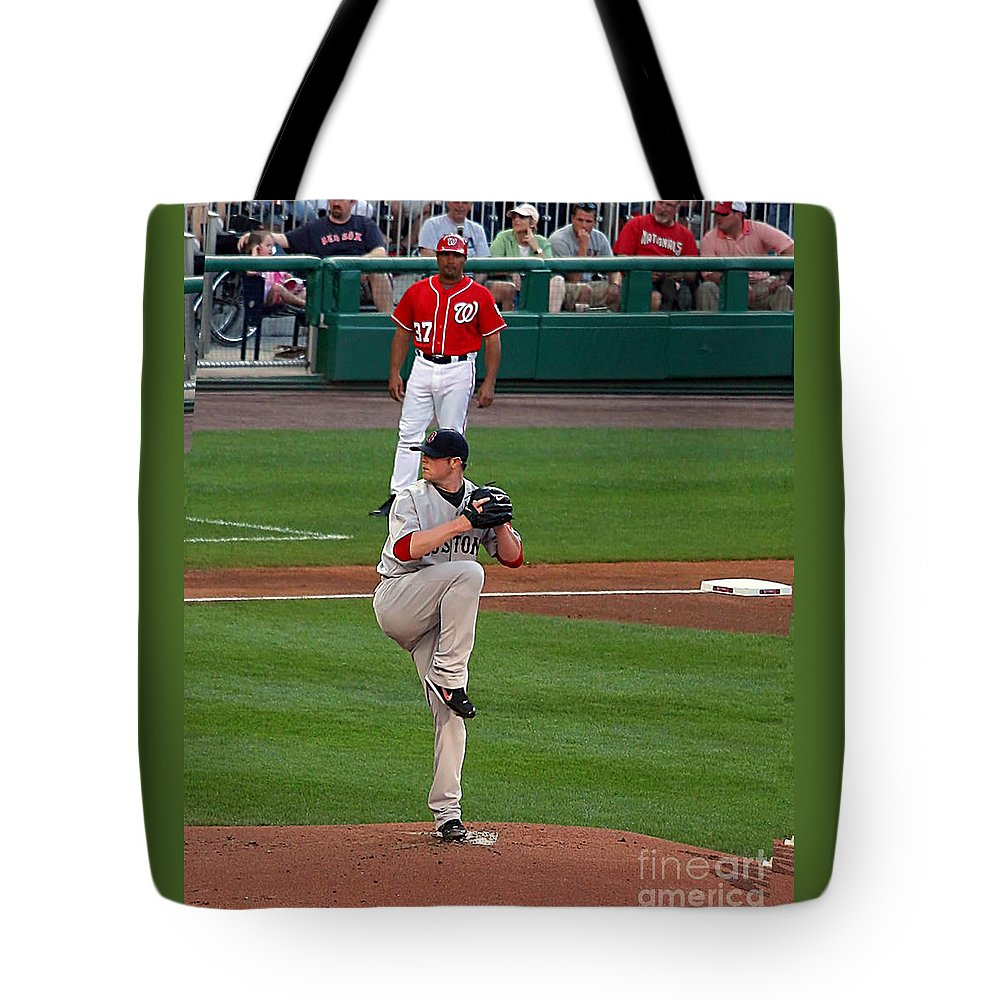 Jon Lester Photo Tote Bag featuring the photograph Jon Lester Poetry In Motion by Tom Prendergast