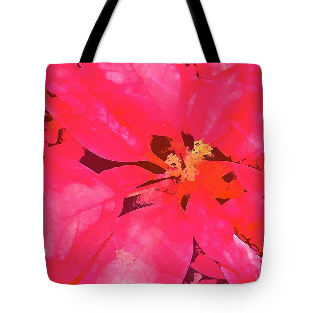 Christmas Tote Bag featuring the photograph Poinsettia 1 by Pamela Cooper