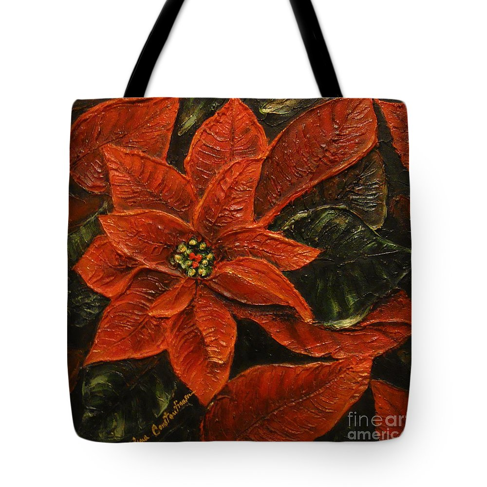Poinsettia Tote Bag featuring the painting Poinsettia 2 by Elena Constantinescu