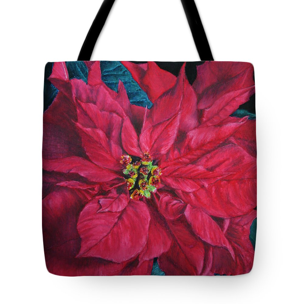 Poinsettia Tote Bag featuring the painting Poinsettia II Painting by Marna Edwards Flavell