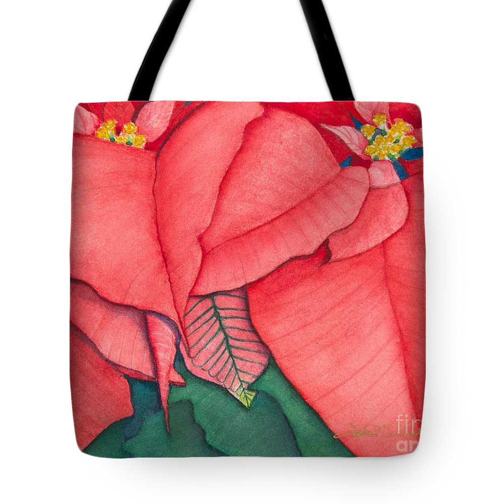 Flower Tote Bag featuring the painting Poinsettia by Sandra Neumann Wilderman