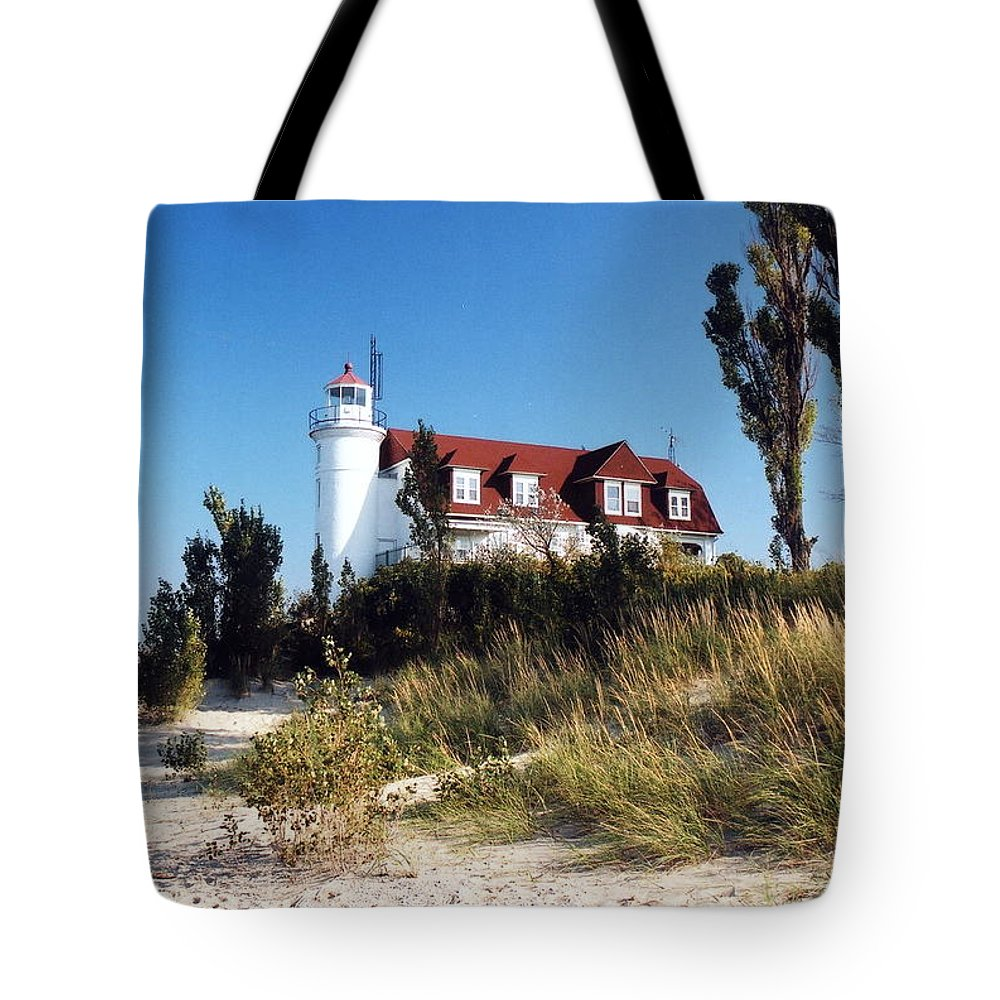 Lighthouse Tote Bag featuring the photograph Point Betsie Lighthouse by Crystal Nederman