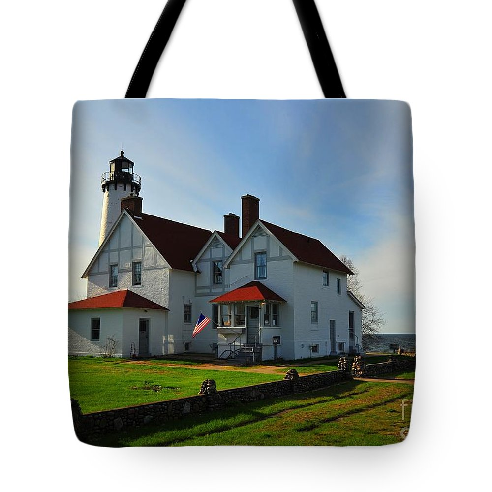 Lighthouse Tote Bag featuring the photograph Point Iroquois Lighthouse On Whitefish Bay Michigan by Terri Gostola