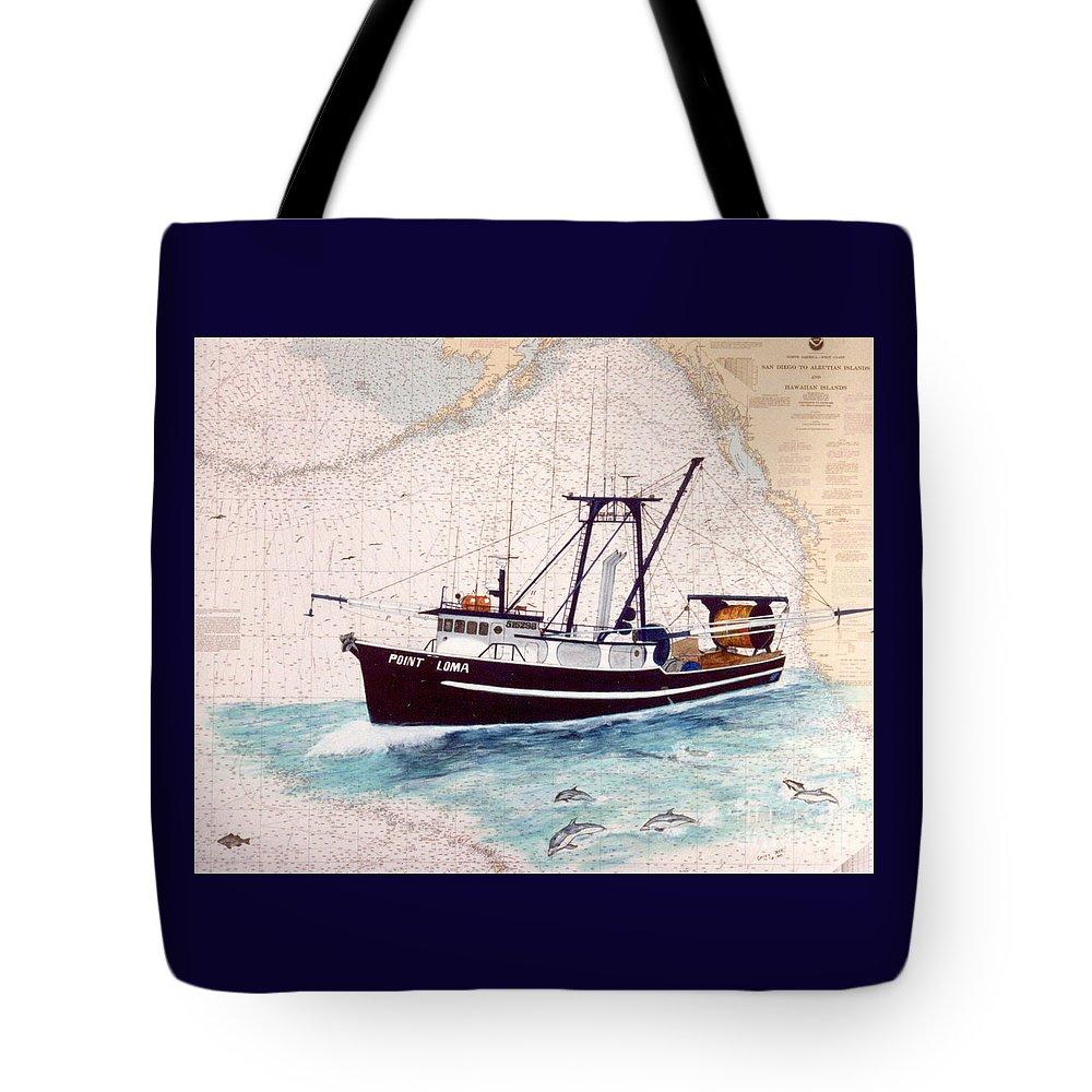 Point Tote Bag featuring the painting Point Loma Trawl Fishing Boat Nautical Chart Map Art by Cathy Peek