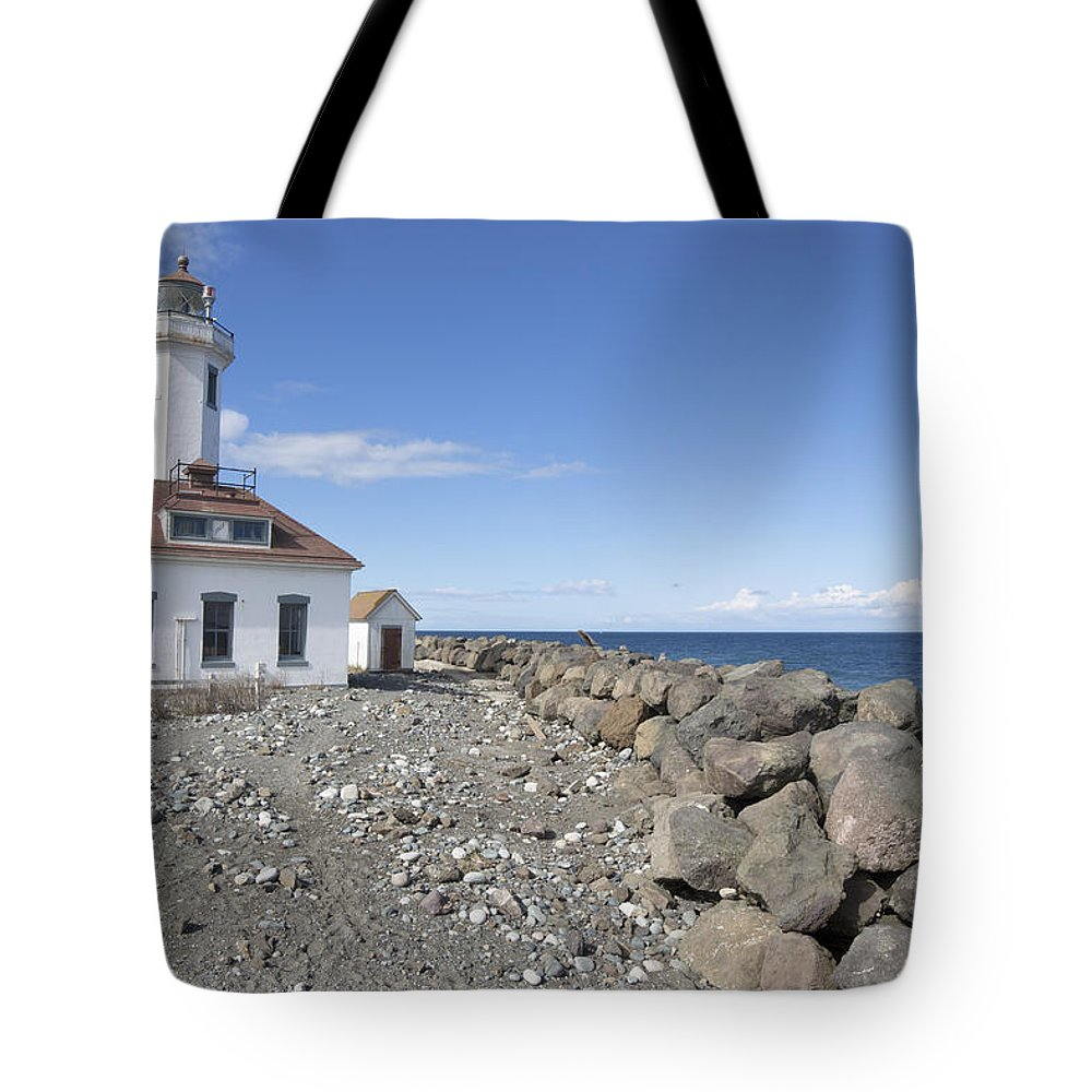 Point Wilson Lighthouse Tote Bag featuring the photograph Point Wilson Lighthouse by Bob Stevens