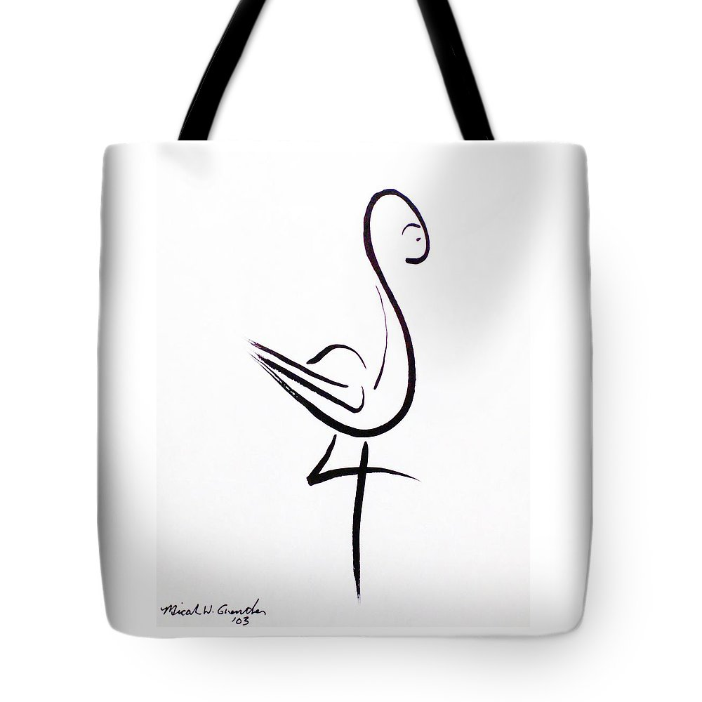Abstract Tote Bag featuring the drawing Poise by Micah Guenther