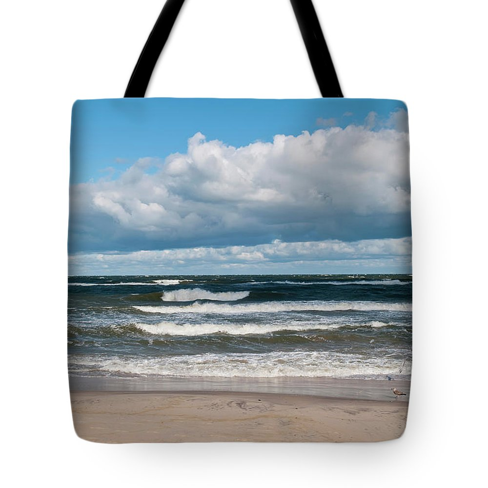 Water's Edge Tote Bag featuring the photograph Poland, View Of Baltic Sea In Autumn At by Westend61