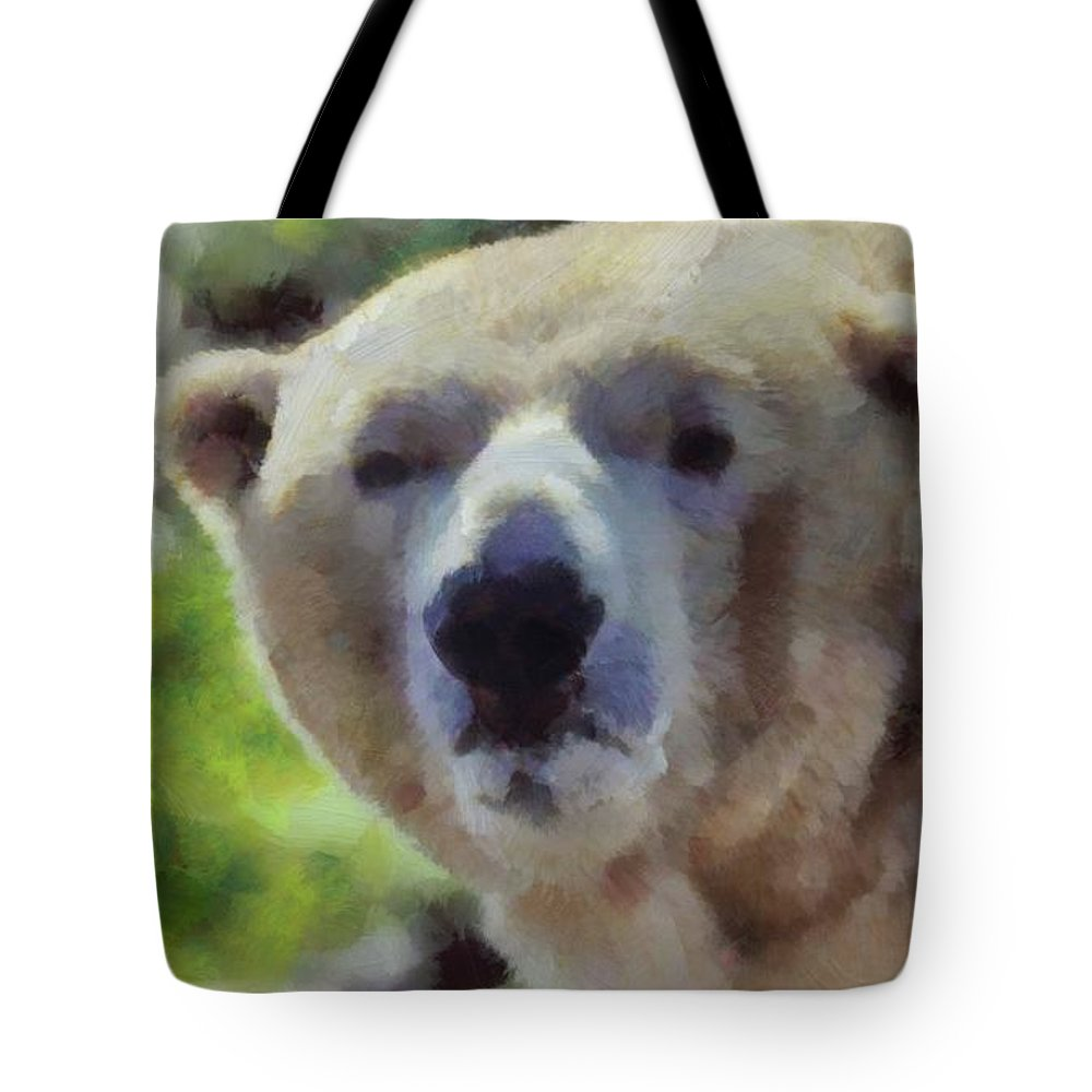 Polar Bear Portrait Tote Bag featuring the painting Polar Bear by Dan Sproul