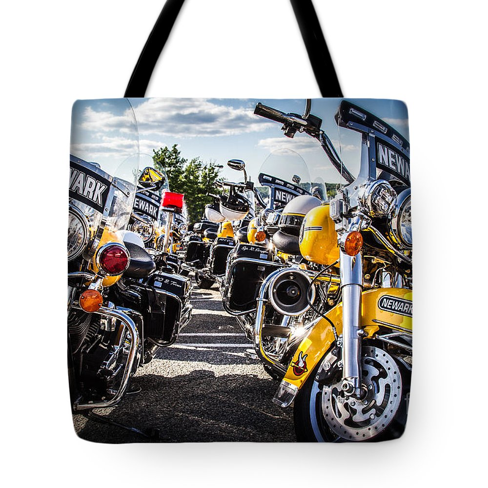 Motorcycles Tote Bag featuring the photograph Police Motorcycle Lineup by Eleanor Abramson
