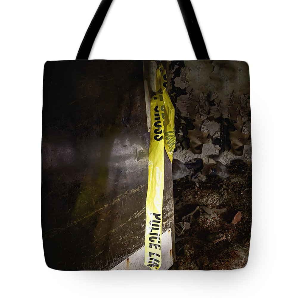 Door Tote Bag featuring the photograph Police Tape by Margie Hurwich