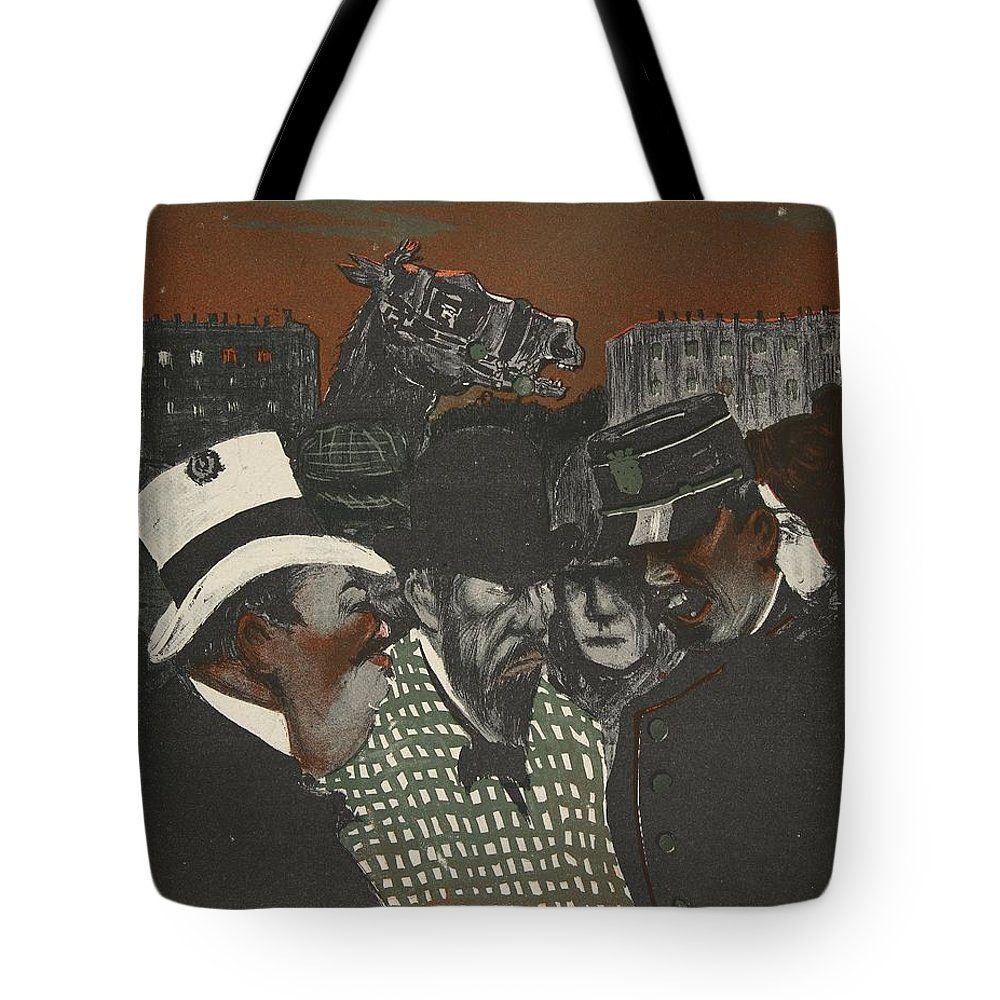 French Tote Bag featuring the drawing Policeman Talking With Men by Georges d' Ostoya