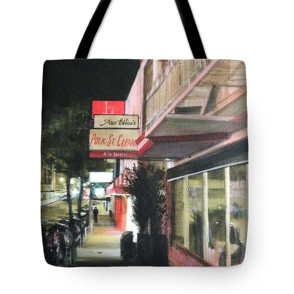 City Tote Bag featuring the painting Polk St. Cleaner's by Marianne Bland