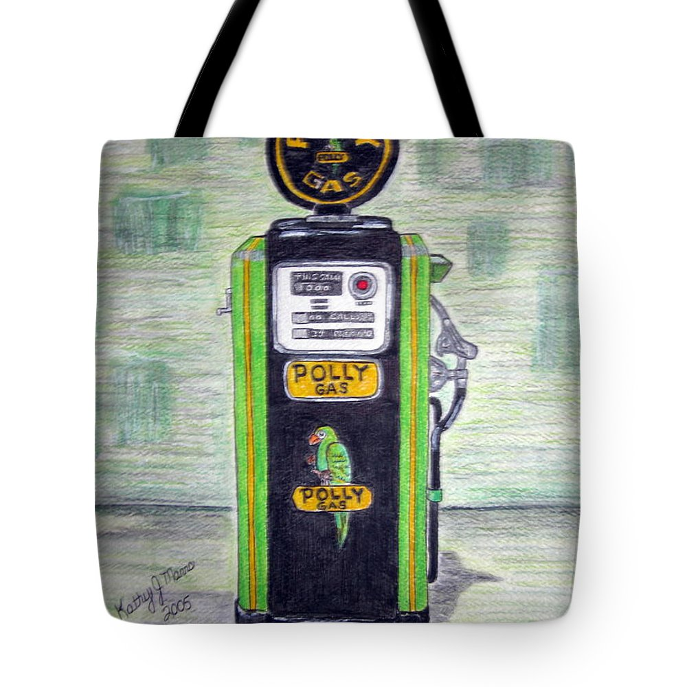 Parrot Tote Bag featuring the painting Polly Gas Pump by Kathy Marrs Chandler