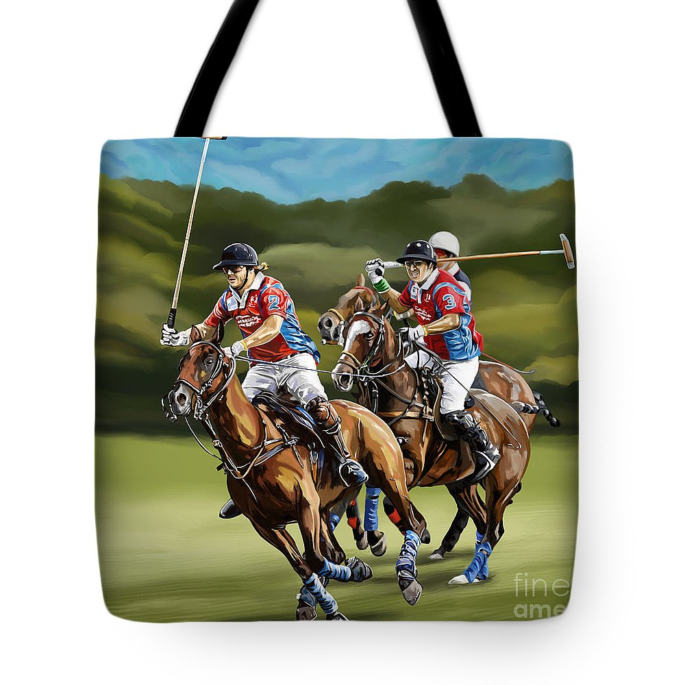7b760a2c8dcb Polo Tote Bag featuring the painting Polo Game Horses by Tim Gilliland