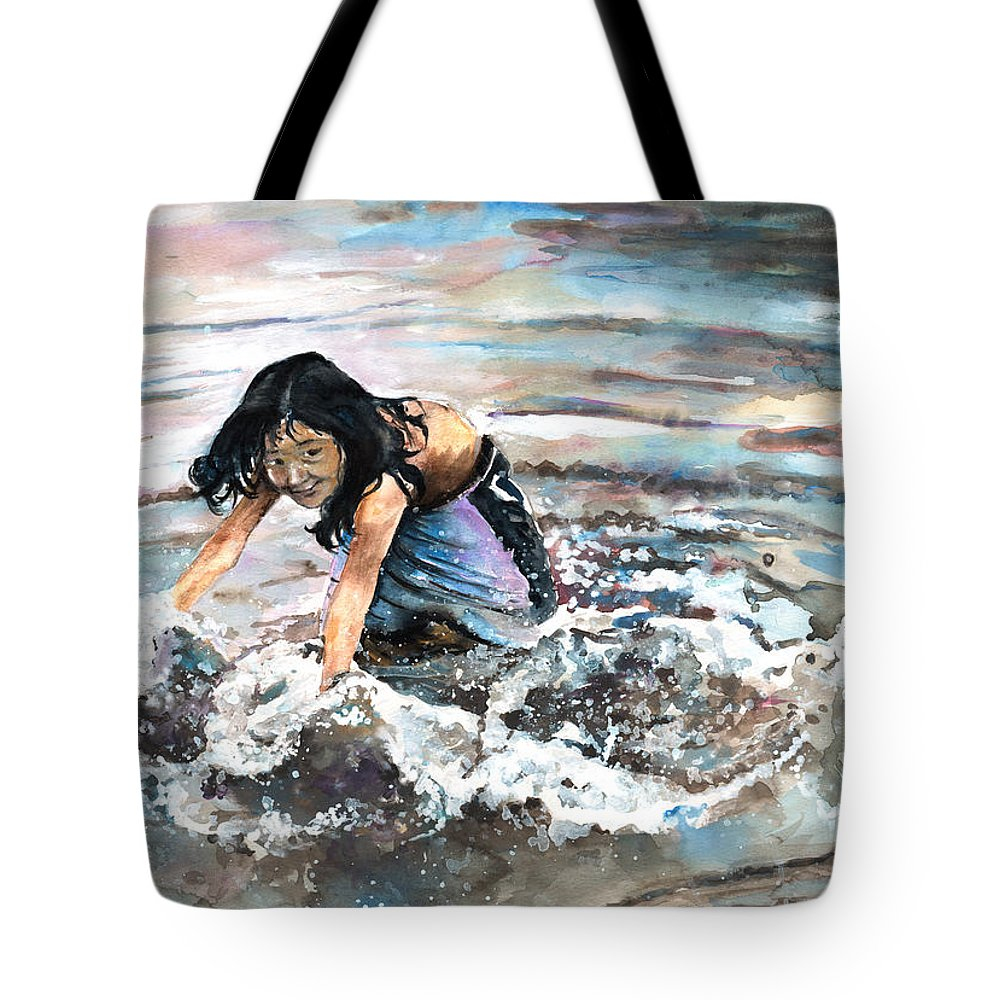 Travel Tote Bag featuring the painting Polynesian Child Playing With Water by Miki De Goodaboom