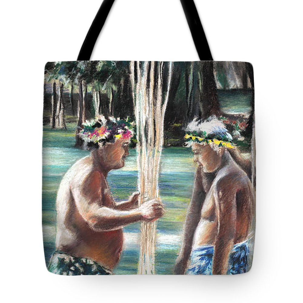 Travel Tote Bag featuring the painting Polynesian Men With Spears by Miki De Goodaboom