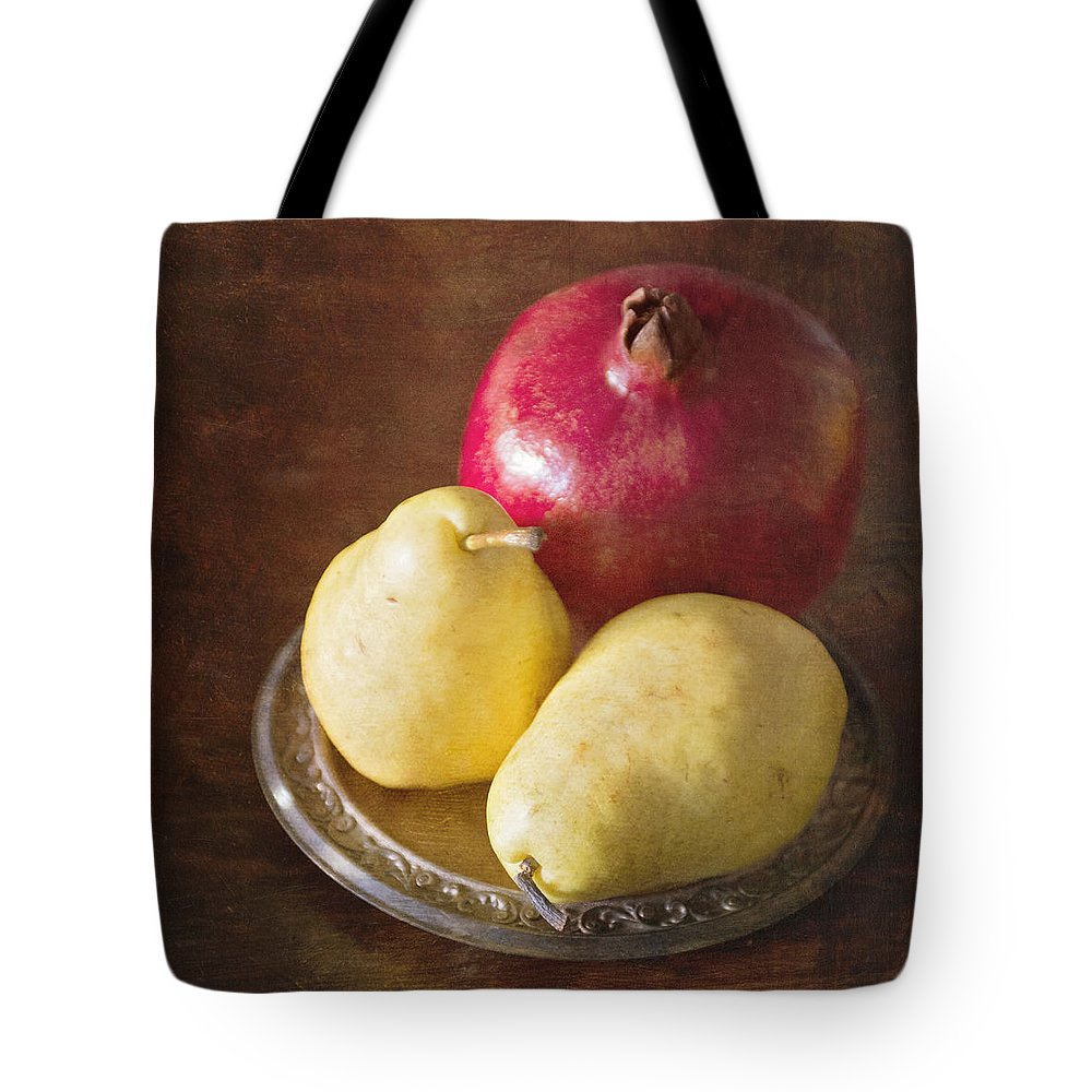 Pomegranates Tote Bag featuring the photograph Pomegranate And Yellow Pear Still Life by Renee Hong