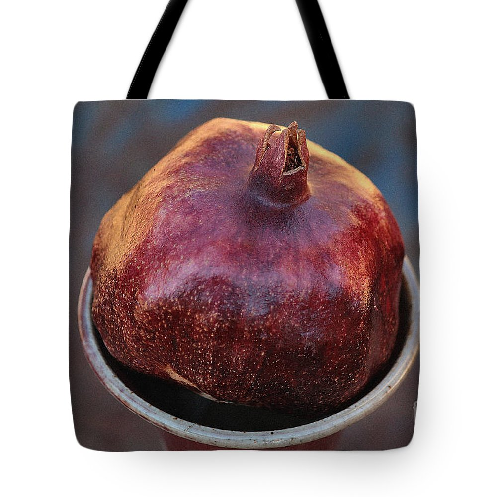 Pomegranate Tote Bag featuring the photograph Pomegranate In A Vase by Luv Photography