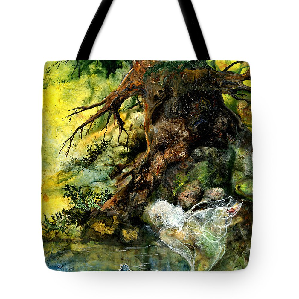 Fairy Tote Bag featuring the painting Pond Fairy by Sherry Shipley