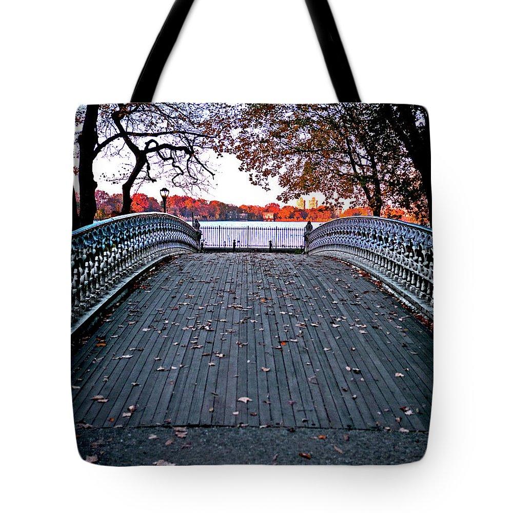 Central Park Tote Bag featuring the photograph Pond Footbridge by S Paul Sahm