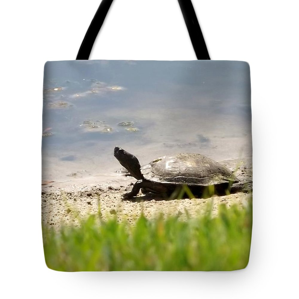 Turtle Tote Bag featuring the photograph Pond's Edge by Linda Kerkau