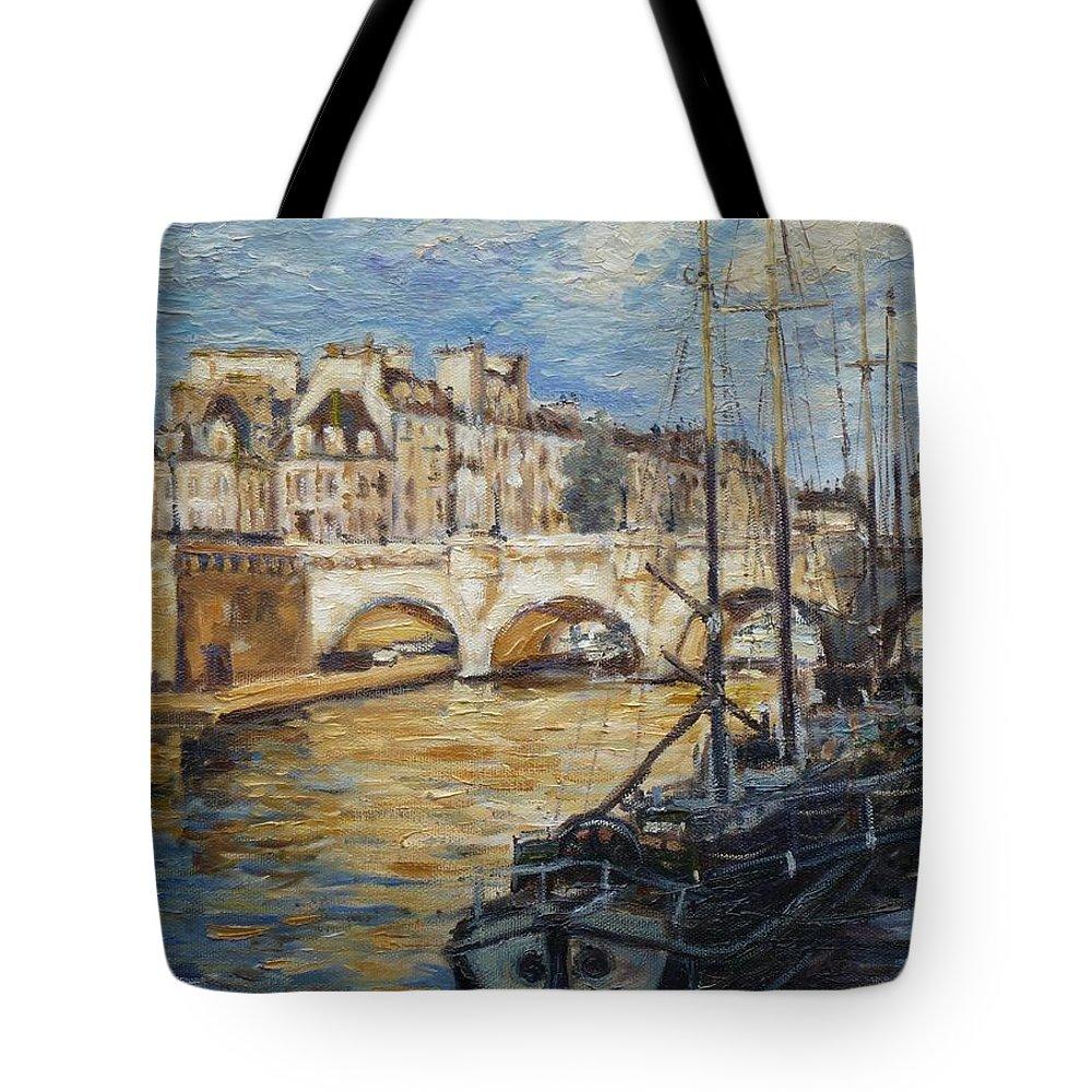 Punt Neuf Tote Bag featuring the painting Pont Neuf Paris by Irek Szelag