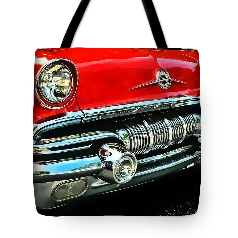 Victor Montgomery Tote Bag featuring the photograph Pontiac Grill by Victor Montgomery