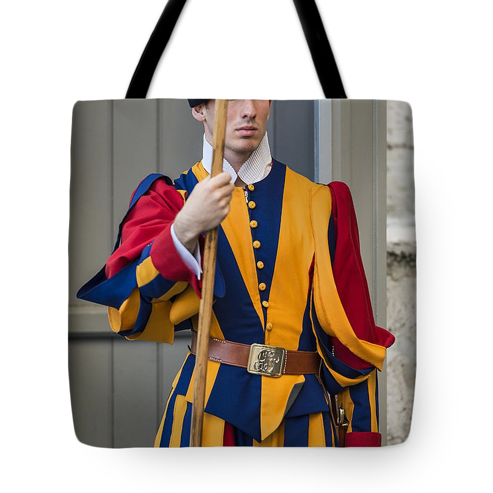 Italy Tote Bag featuring the photograph Pontifical Swiss Guard by John Greim