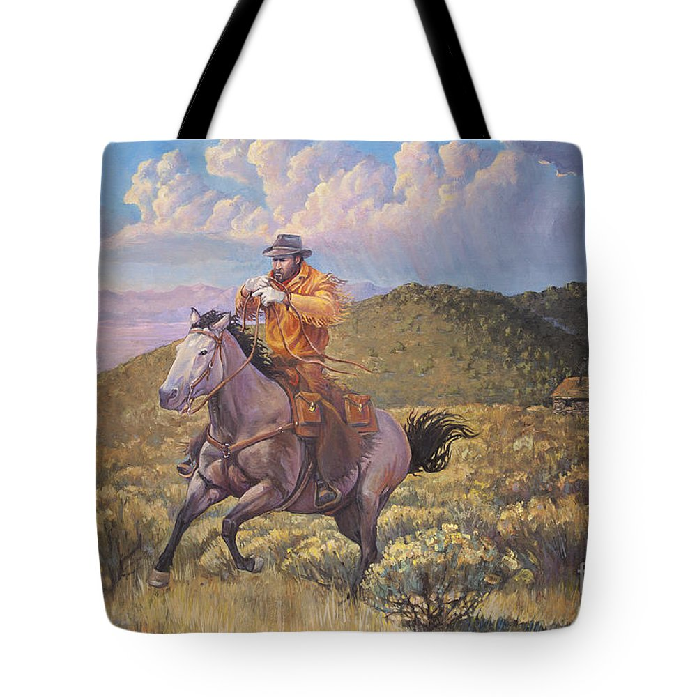 Wall Art Tote Bag featuring the painting Pony Express Rider At Look Out Pass by Rob Corsetti