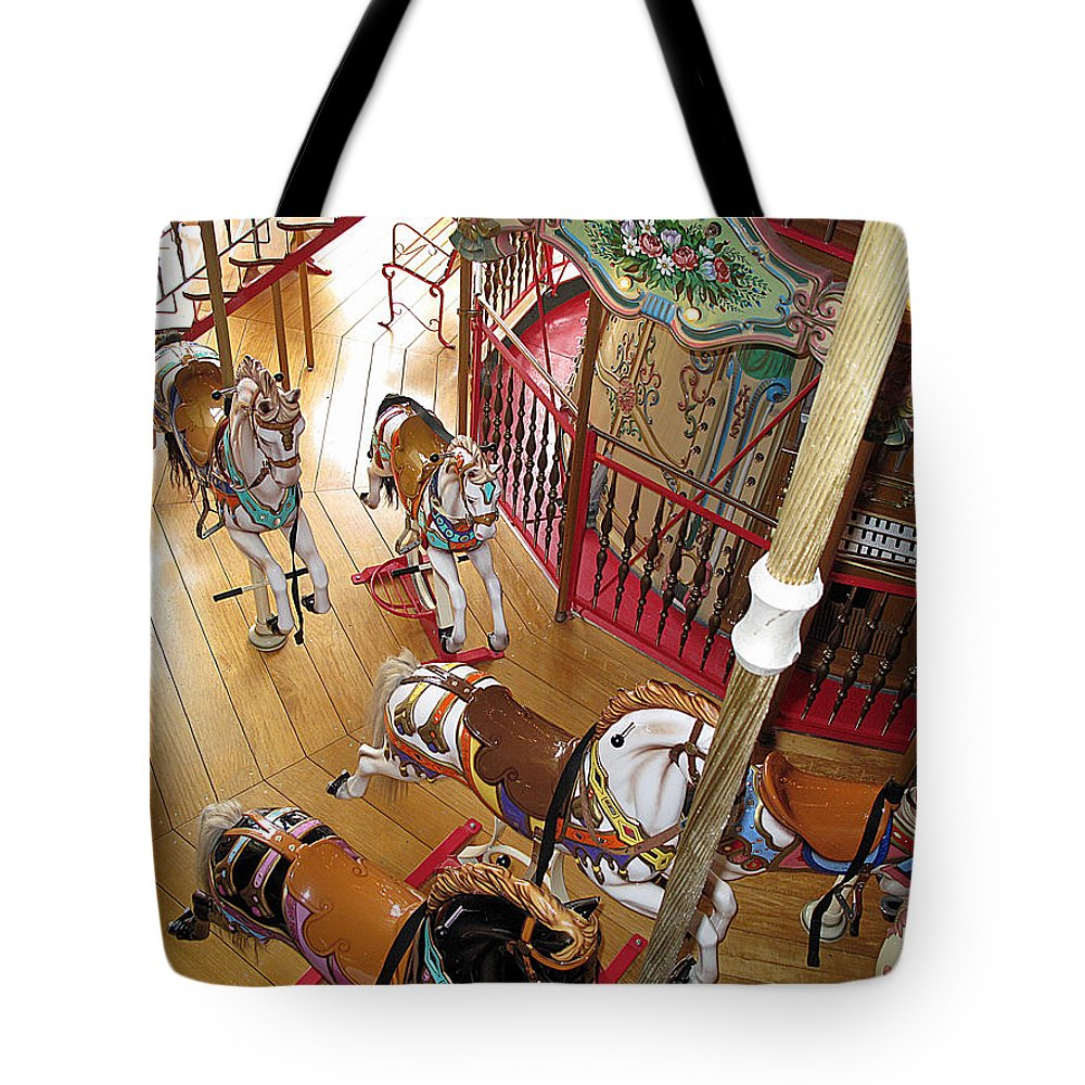 Carousel Tote Bag featuring the photograph Pony Race by Barbara McDevitt