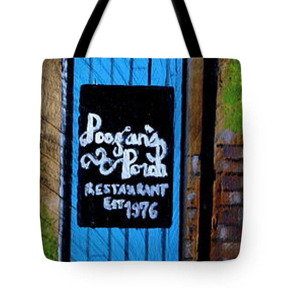 Charleston Tote Bag featuring the painting Poogan's Porch by Ashley Galloway