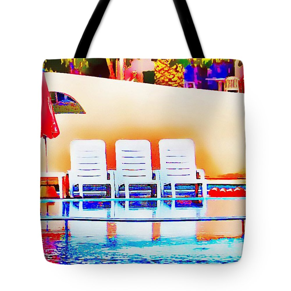 Swimming Tote Bag featuring the photograph Poolside by John Lynch