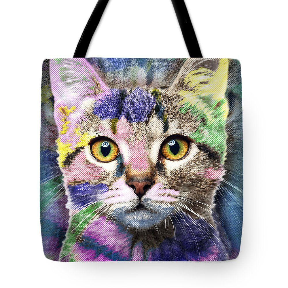 Adorable Tote Bag featuring the painting Pop Cat by Tony Rubino