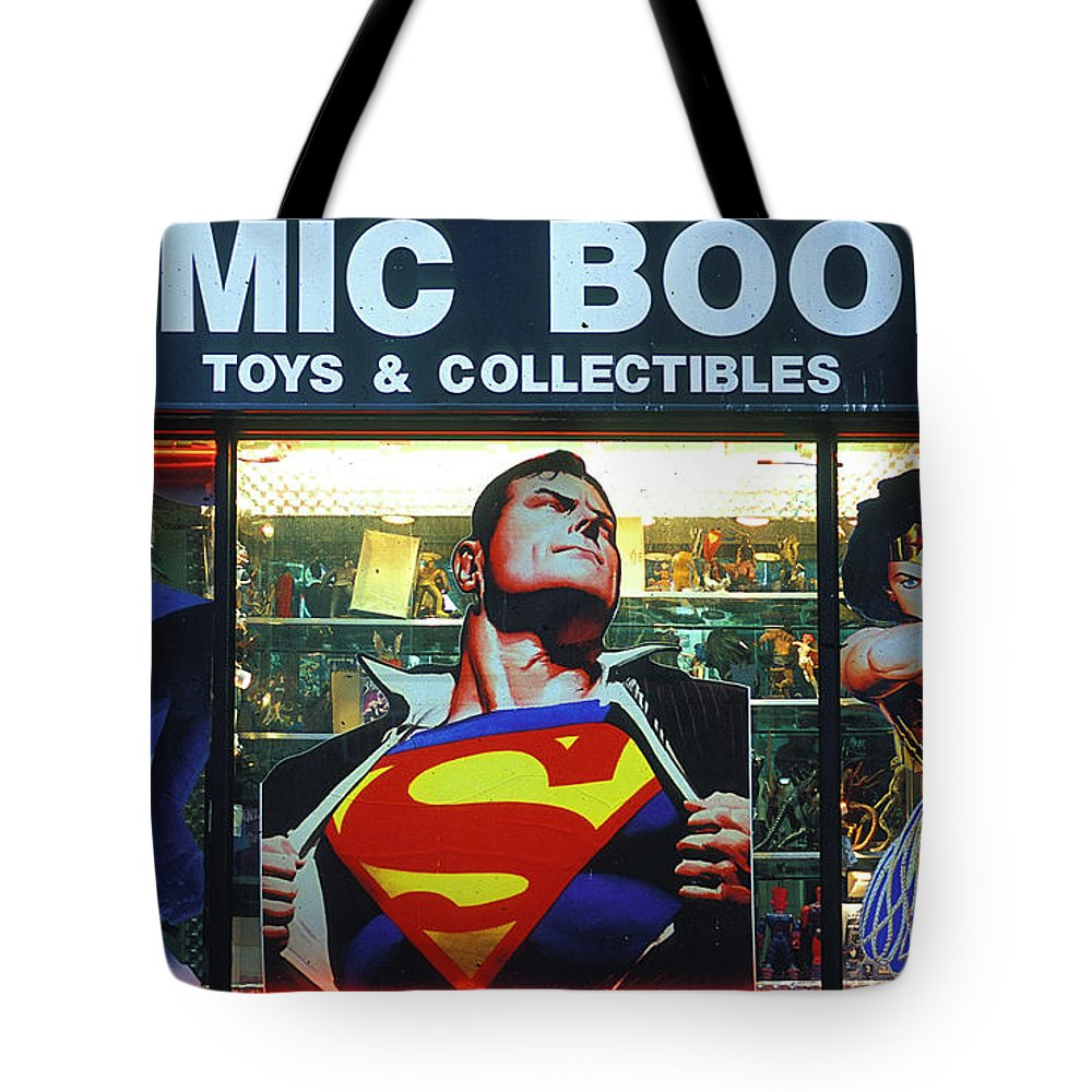 Superman Tote Bag featuring the photograph Pop Culture by Bruce Bain
