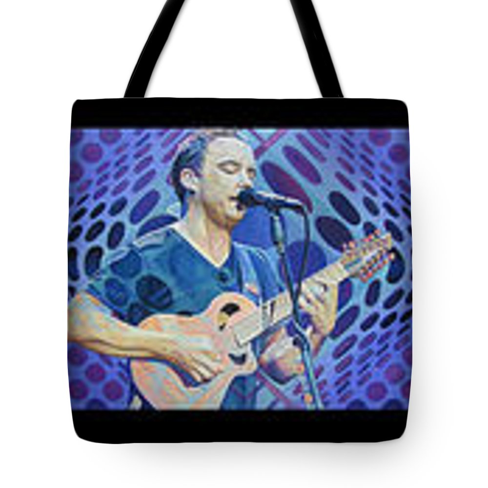 Dave Matthews Tote Bag featuring the drawing The Dave Matthews Band Op Art Style by Joshua Morton