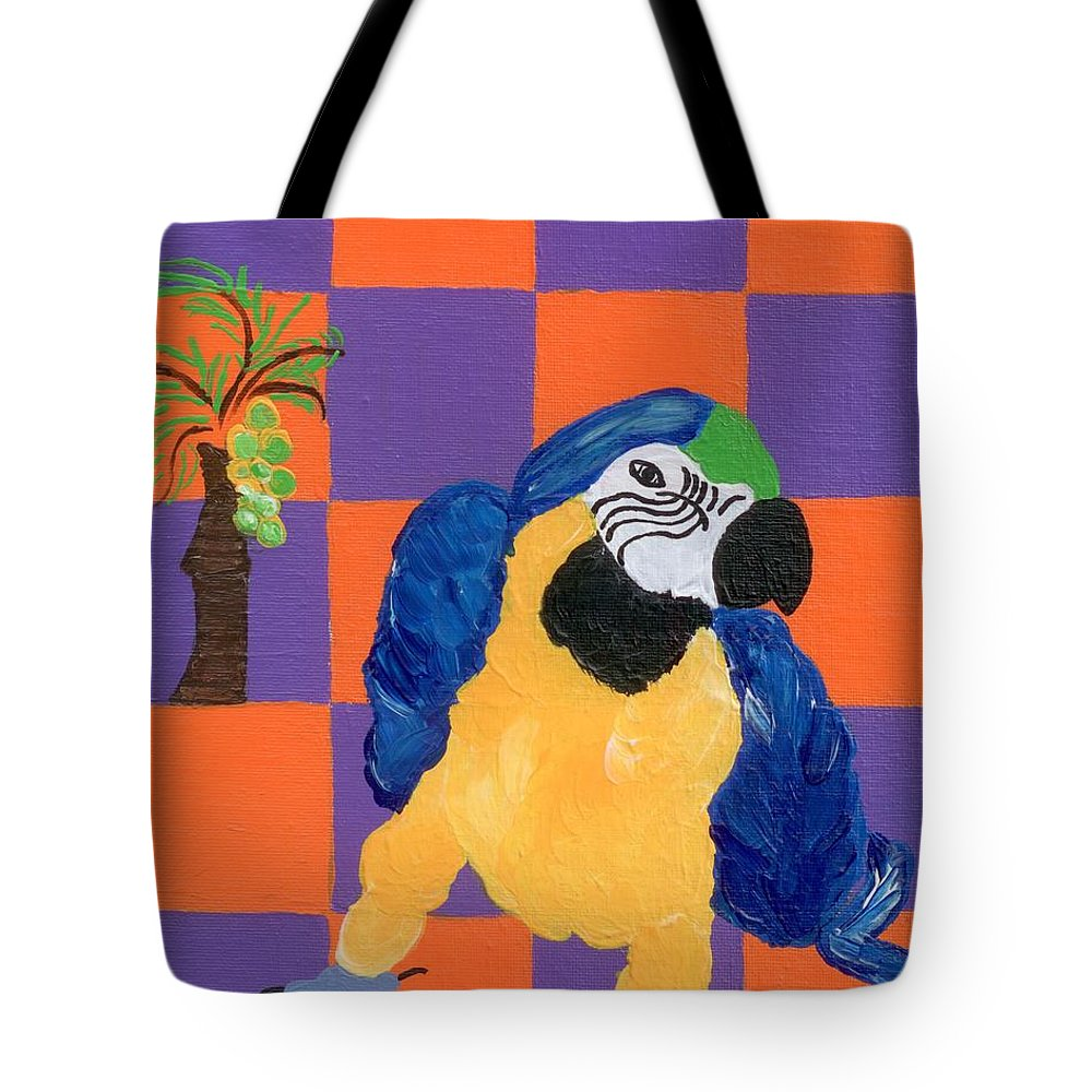 Parrot Tote Bag featuring the painting Pop Parrot by Melissa Vijay Bharwani