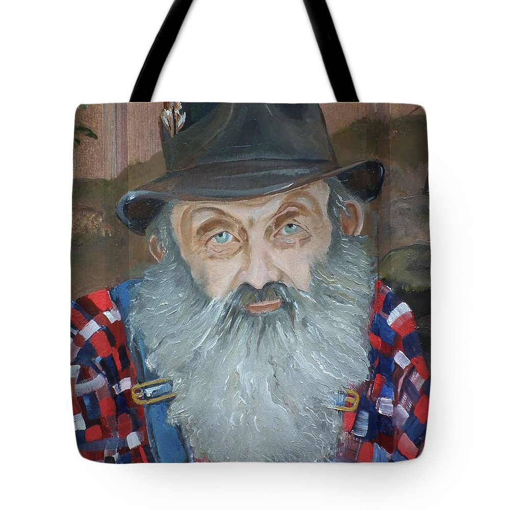 Popcorn Sutton Tote Bag featuring the painting Popcorn Sutton - Moonshiner - Portrait by Jan Dappen