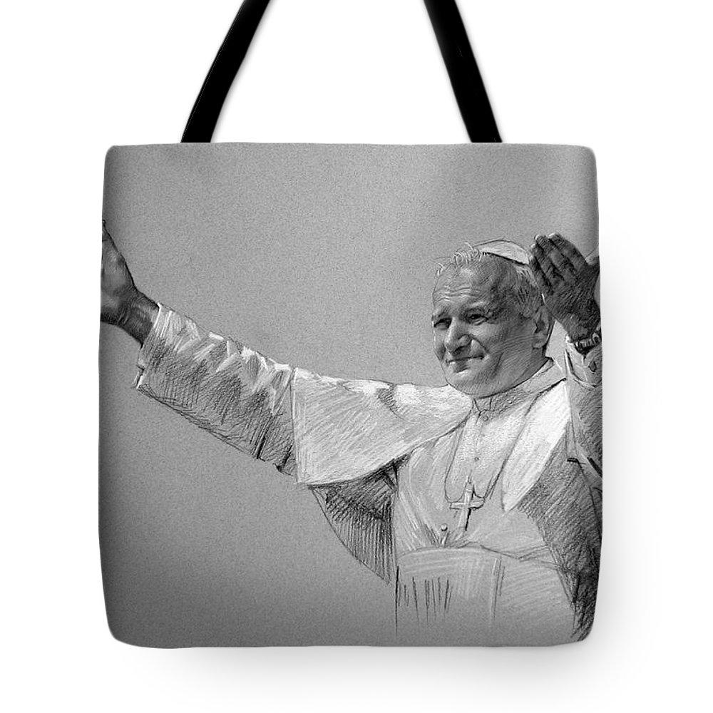 Pope John Paul Ii Tote Bag featuring the drawing POPE JOHN PAUL II bw by Ylli Haruni