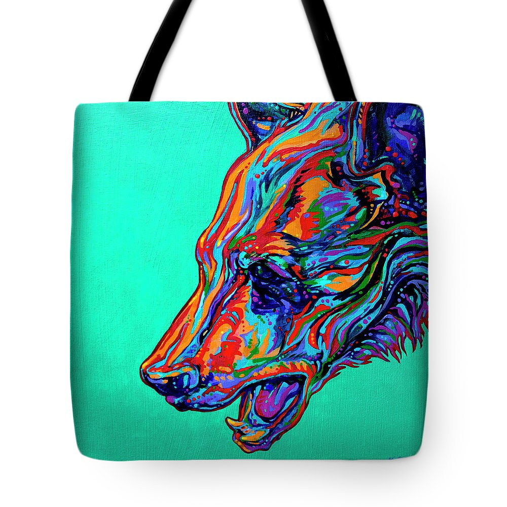 Contemporary Paintings Tote Bag featuring the painting Poppa Bear by Derrick Higgins