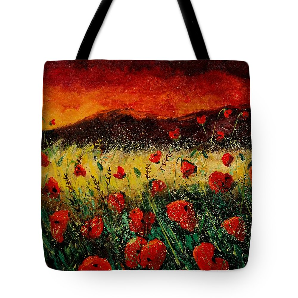 Poppies Tote Bag featuring the painting Poppies 68 by Pol Ledent