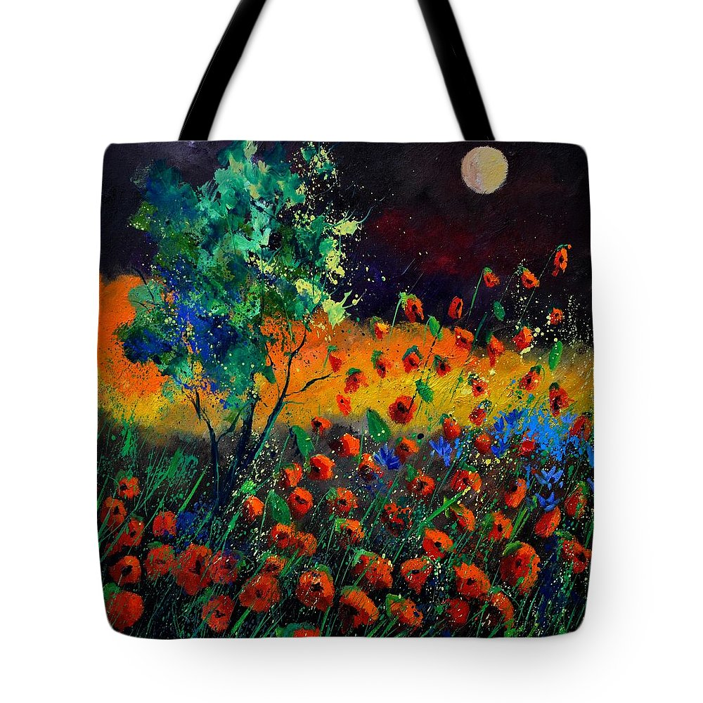 Landscape Tote Bag featuring the painting Poppies 774111 by Pol Ledent
