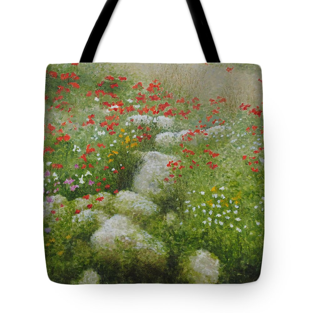 Landscape Tote Bag featuring the painting Poppies And Wildflowers by Richard Ginnett