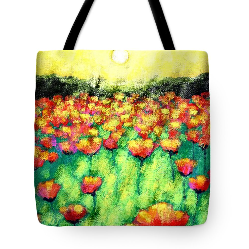 Acrylic Tote Bag featuring the painting Poppies At Twilight  Cropped Version by John Nolan