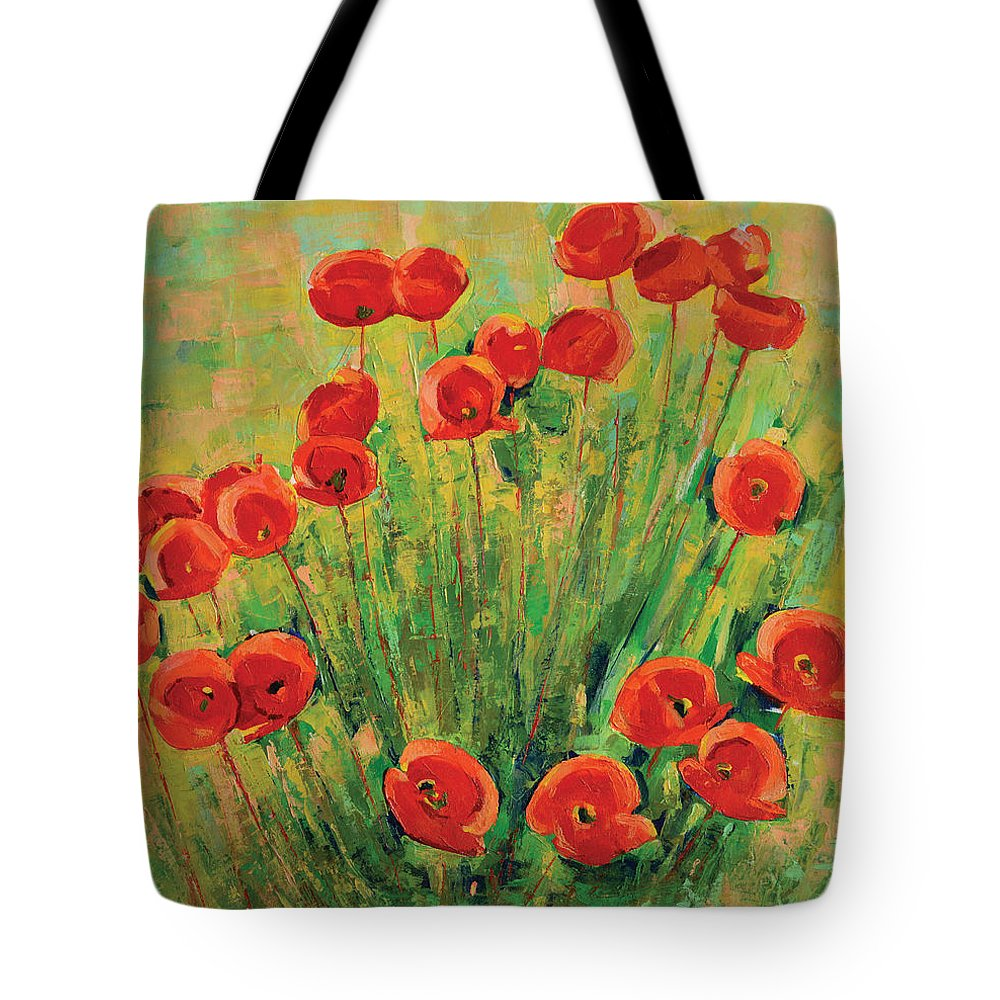 Poppies Tote Bag featuring the painting Poppies by Iliyan Bozhanov