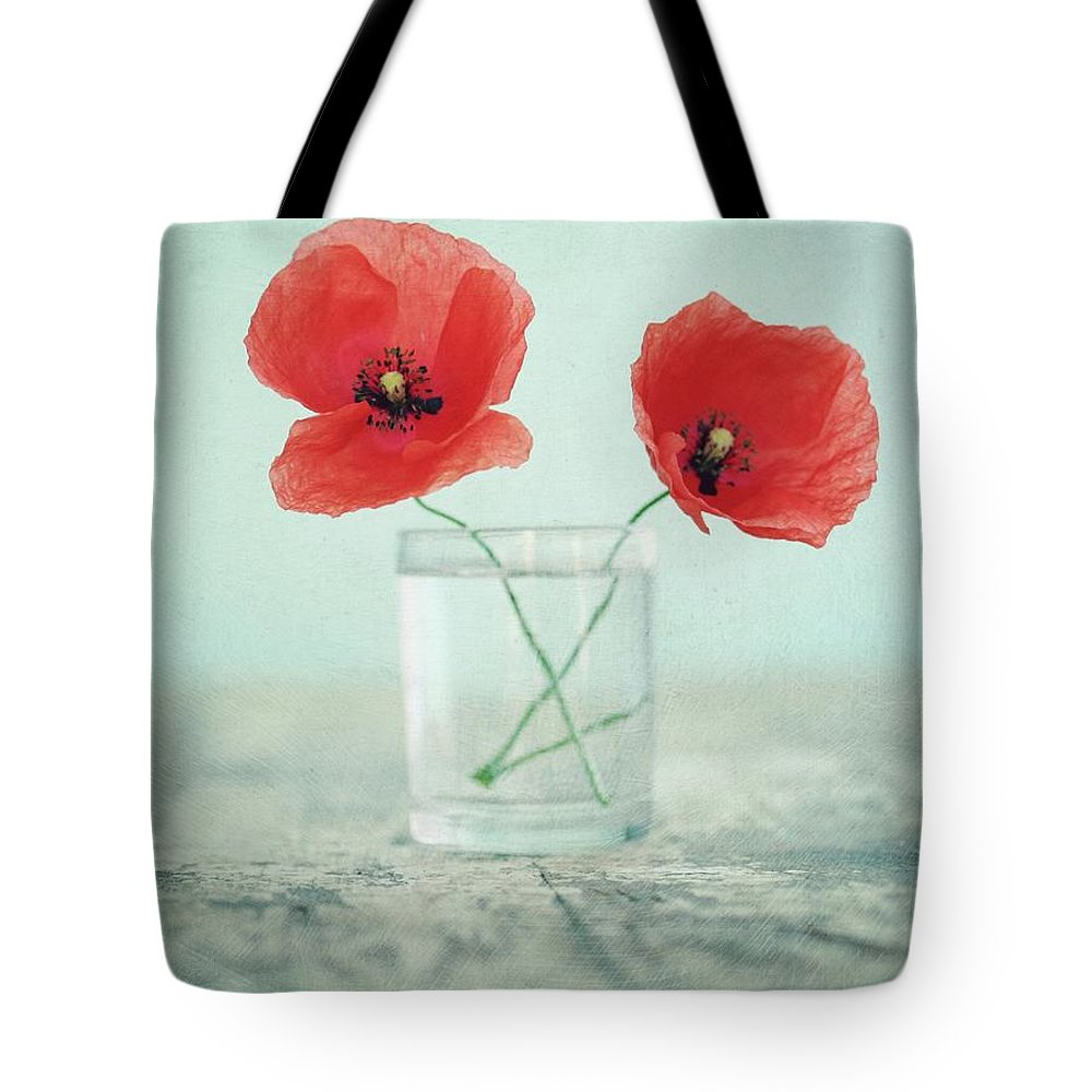 Bulgaria Tote Bag featuring the photograph Poppies In A Glass, Still Life by By Julie Mcinnes